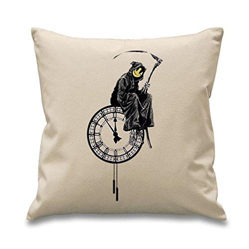 "Banksy Grim Reaper 18"" x 18"" Filled Sofa Throw Cushion (Cream)"