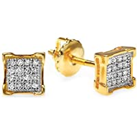 0.10 Carat (ctw) Real Diamond V Prong Square Mens Hip Hop Iced Stud Earrings 1/10 CT