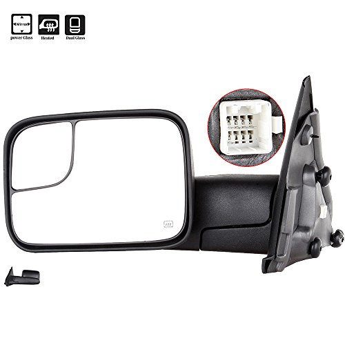 SCITOO Side MIrror fit Dodge Tow Mirror Driver Side Rear View Mirror 2002-2008 Dodge Ram 1500 2500 3500 Power Control Heated Manual Telescoping Manual Folding Feature Car mirror