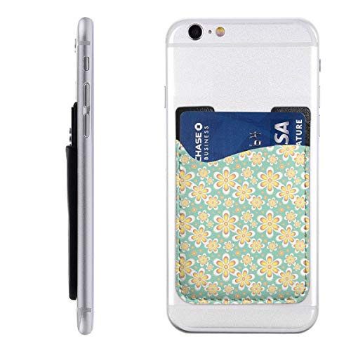 Seamless Pattern Floral Pastels Green Yellow Phone Card Holder for Back of Phone, Stretchy Wallet Stick On Pocket Credit Card ID Case Pouch Compatible with All Smartphones