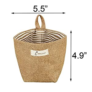 Acronde 3PCS Mini Hanging Storage Bag Cotton Linen Small Storage Basket Collapsible Convenient Decor Bin Bag for Room Wall Door Closet (Stripe)
