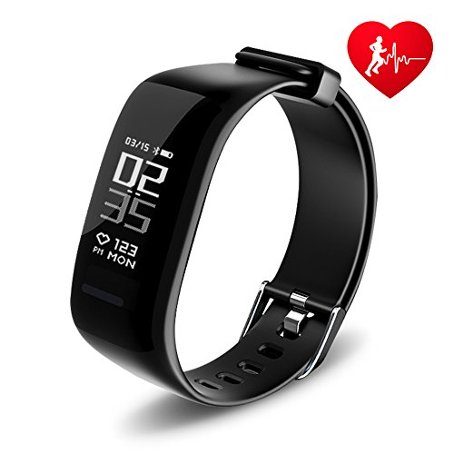 DAWO Fitness Tracker, BY1 IP67 Waterproof Activity Wireless Smart Bracelet with Continuous Heart Rate Monitor Step Calorie Sleep Counter Bluetooth Wristband Pedometer Sports Smart Band