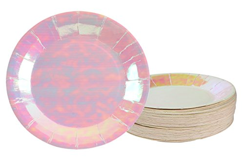 Disposable Plates - 48-Pack Paper Plates Party Supplies for Appetizer, Lunch, Dinner, and Dessert, Kids Birthday Party Favors, Pink Holographic, 7 x 7 Inches ()