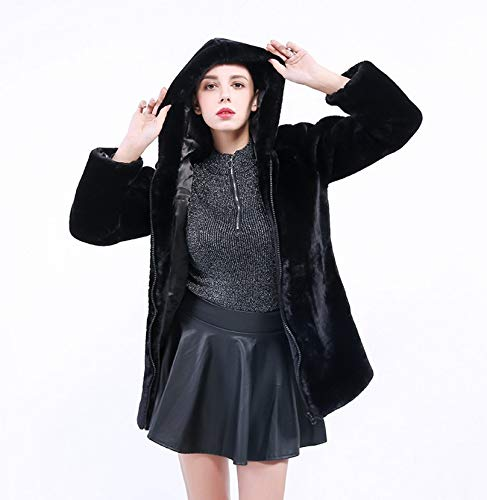 Negras Prendas Maytree color Damas Coreana De Mujer Algodón Tamaño Negro Sintética Piel Abrigo Negro Para Largas Metro qqrHwzCP