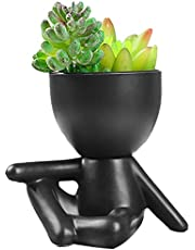 Human-Shaped Succulent Flower Pots, Cactus Succulents, Modern Flower Pots, Ceramic Flower Containers (Cross-Legged-Black)