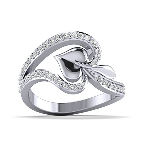 Fehu Jewel Natural Diamond Collection Anniversary ring in White Gold Plated Silver (.36 cttw, H-I Color, I1-I2 Clarity) for Women