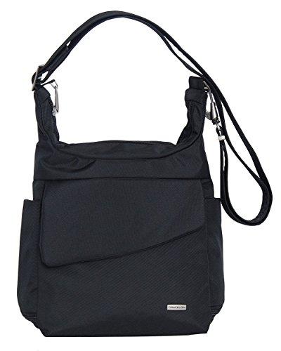 Travelon Anti-Theft Messenger Bag (Black w/BLACK FLORAL Lining)