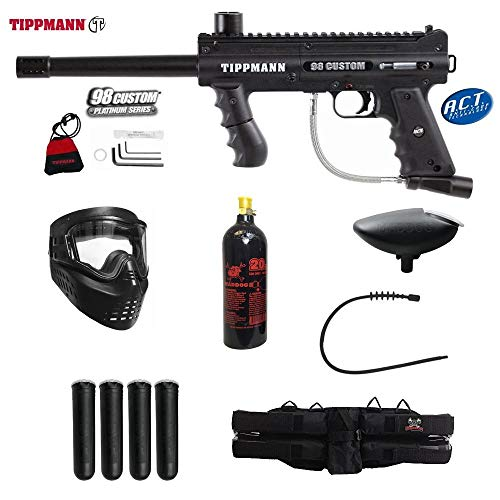 Tippmann 98 Model Accessories (MAddog Tippmann 98 Custom ACT Platinum Series Silver Paintball Gun Package - Black)