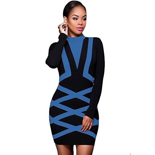 Byy Contrast Accent Long Sleeve Little Black Dress Blue S