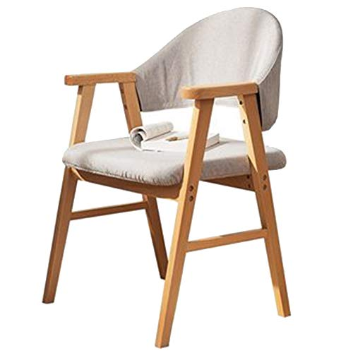 Bseack_Store Chair Chair Nordic Style Easy Assembly Beech Wooden Chair Leg Removable and Washable Fabric Cover Balcony Restaurant (Color : B)