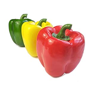 Lorigun Artificial Bell Peppers Fake Veggies for Decoration Colorful Artificial Fruits for Vegetable Bowl Home Decor 3 Pcs (Red+Yellow+Green) 55