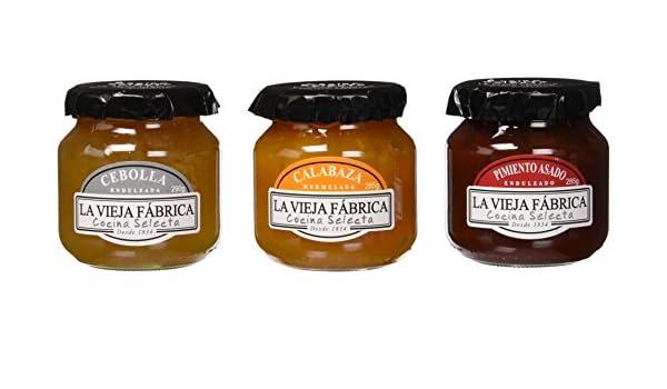 La Vieja Fábrica Mermeladas: Pimiento Asado Endulzado, Cebolla Endulzada, Mermelada de Calabaza - 3 frascos: Amazon.es: Alimentación y bebidas