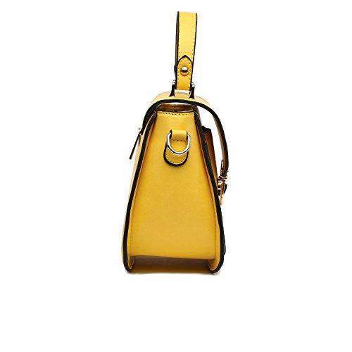 à main longue bandoulière l'intérieur alessandro avec Jaune la et Sac à l'arrière zippée bandoulière à mode ca sac 22x17x8cm à poche et et détachable et à collezione t8fqOwO