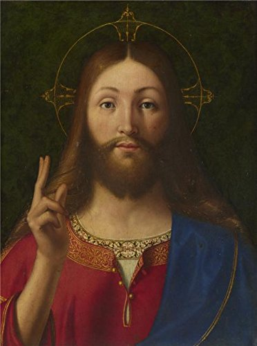 Center Unit Stone Vanity Top (Perfect Effect Canvas ,the High Quality Art Decorative Prints On Canvas Of Oil Painting 'Andrea Previtali - Christ Blessing,about 1512-15', 10x13 Inch / 25x34 Cm Is Best For Bathroom Decoration)