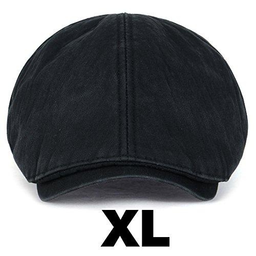 (ililily Washed Cotton Flat Cap Cabbie Hat Gatsby Ivy Irish Hunting Newsboy Stretch Big Hat)