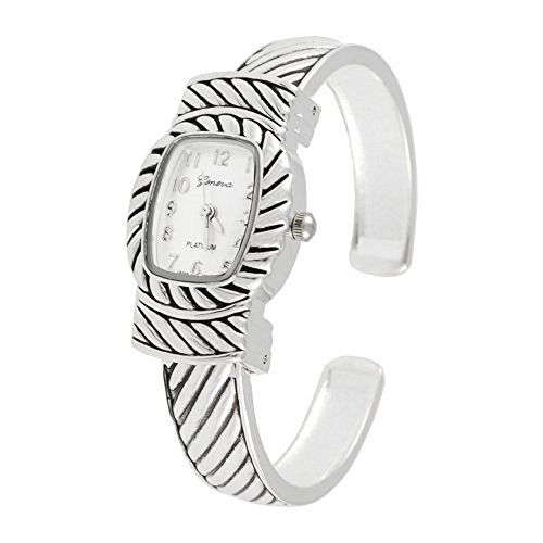 Geneva Platinum Polished Silver Cuff Watch - Stripes Cuff Watch