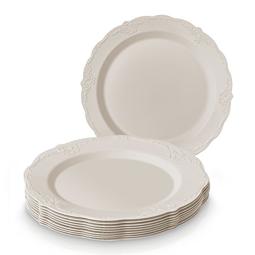 SILVER SPOONS VINTAGE COLLECTION PARTY DISPOSABLE DINNERWARE SET | 20 Salad Plates | Heavy Duty Plastic Dishes | Elegant Fine China Look | for Upscale ...  sc 1 st  Plate Dish. & Elegant Plastic Plates Wholesale. OCCASIONS 120 PACK Heavyweight ...
