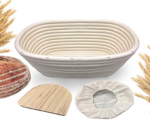 10 inch Oval Banneton Proofing Basket - Made Terra Natural Rattan Cane Brotform Set with Bamboo Dough Scraper & Cloth Liner | Food-Safe Bread Bowls by Artisan Families | Best Baking Gift Set