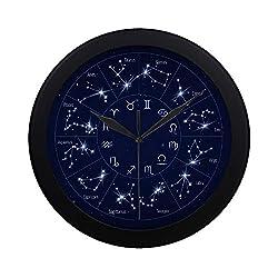 Modern Simple Zodiac Constellation Map With Leo Virgo Scorpio Li Pattern Wall Clock Indoor Non-ticking Silent Quartz Quiet Sweep Movement Wall Clcok For Office,bathroom,livingroom Decorative 9.65 Inch