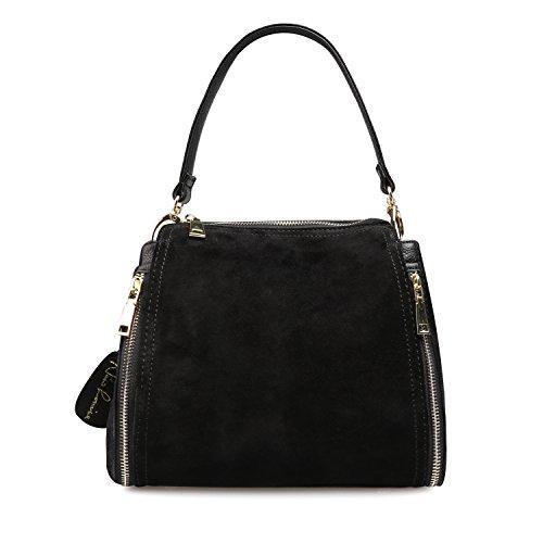 - Women Real Suede Leather Shoulder Bag Leisure Doctor Handbag For Female Girls Top-handle (Black)