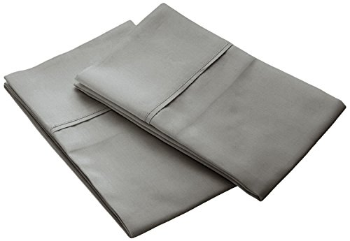 Brielle 630 Thread Count Egyptian Cotton Sateen Premium 600 Plus Pillow Case Set, Standard, Stone - 600 Tc Single Ply