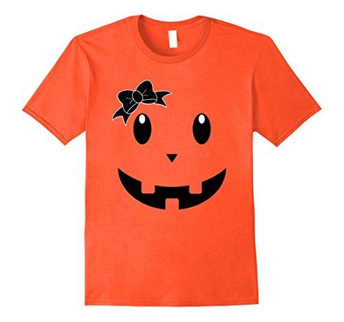 Teenage Girl Diy Halloween Costumes (Mens Cute Halloween Pumpkin Face Ribbon Gift Shirt for Kids Adult Medium Orange)