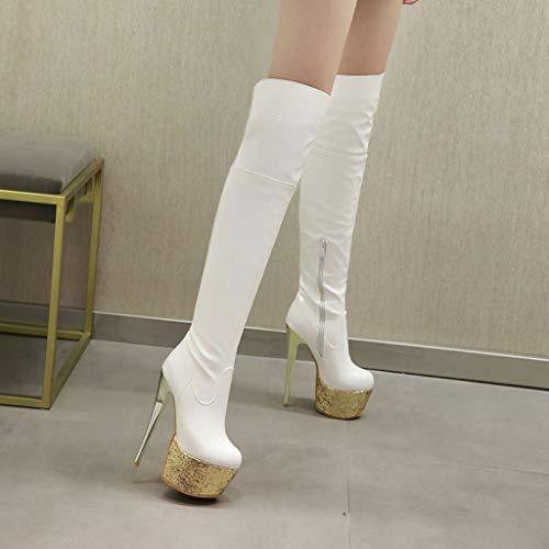 Laterale Donna Ginocchio Coscia Stretch Con Piattaforma Testa Impermeabile Scarpe Stivali Grandi Da White Tacco Fcxbq Alto Dimensioni Al Cerniera Di Tonda Pu Antiscivolo qPvawSE1