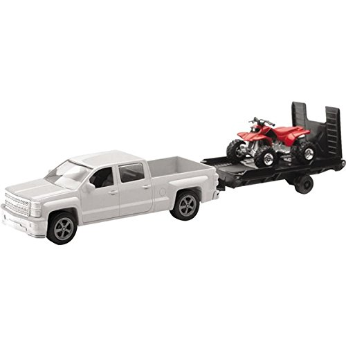 Orange Cycle Parts Die-Cast Replica Toy 1:43 Scale Model City Cruiser White Chevrolet (Chevy) Silverado Pick Up Truck w/ Red ATV by NewRay 19535B