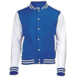 AWDis Hoods Varsity Letterman jacket Royal Blue / White L