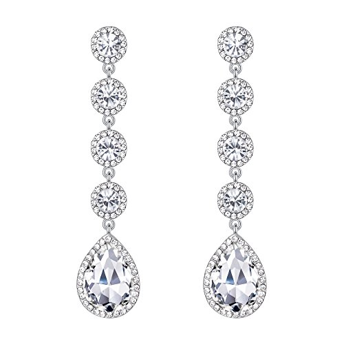 BriLove Wedding Bridal Dangle Earrings for Women Elegant Crystal Teardrop Chandelier Earrings Clear Silver-Tone