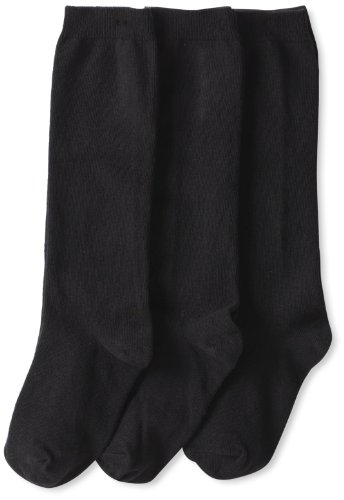 Jefferies Socks Little Girls' School Uniform Knee High (Pack of 3), Black, Small