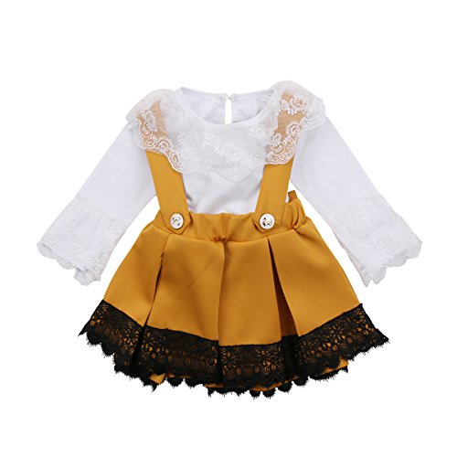 Newborn Baby Girls Clothes Lace Romper Jumpsuit Ruffle Tutu Bowknot Suspender Skirt Dress Outfit 2 Pcs, White, 70