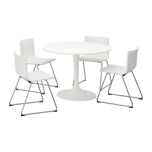 Ikea Table and 4 chairs, white, white 14204.261411.1826