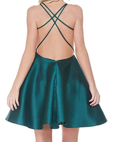 Gruen Satin Charmant Partykleider Mini Festlichkleider Damen Tanzenkleider Cocktailkleider Dunkel Einfach Abendkleider tffCvw