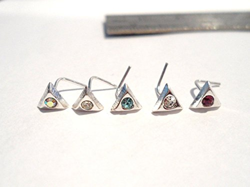 5 Piece CZ Triangle Nose L Shape Bent Studs Pins Rings Crystals 22 Gauge 22g ()