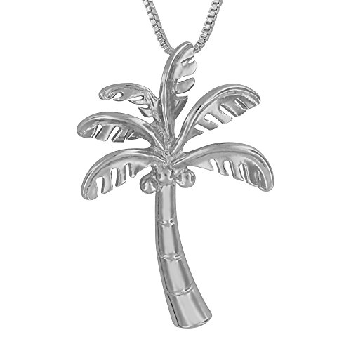 Rhodium Plated Sterling Silver Palm Tree Pendant Necklace, 18