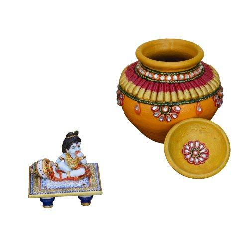 eCraftIndia Set of Kundan Matki and Laddu Gopal on Blue Marble Chowki by eCraftIndia