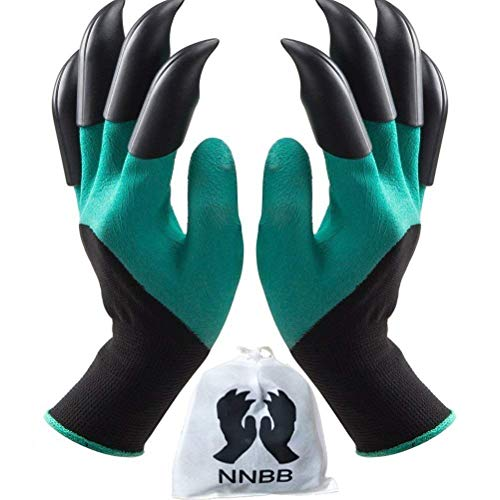 NNBB Garden Gloves with Fingertips Claws Quick- Great for Digging Weeding Seeding poking -Safe for Rose Pruning -Best Gardening Tool -Best Gift for Gardeners (Double Claw)]()