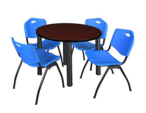"Kee 36"" Round Breakroom Table- Mahogany/ Black & 4 'M' Stack Chairs- Blue"