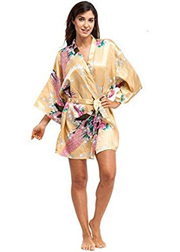 KimonoArt Women's Kimono Robe Short-Peacock Yellow