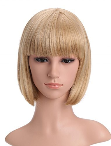 LOUISE MAELYS Ladies Candy Color Straight Flat Bang Short Bob Hair Cosplay -