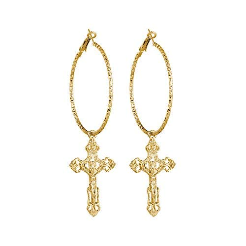 palettei Cross Dangle Hoop Earrings - Cross with Hoop Charm Tassel Dangle Earrings (A Gold)