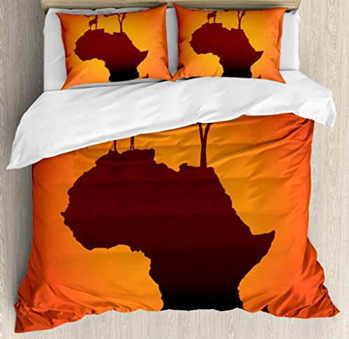 African Fabric Bed - Ambesonne African Duvet Cover Set Queen Size, Safari Map with Continent Giraffe and Tree Silhouette Savannah Wild Design, Decorative 3 Piece Bedding Set with 2 Pillow Shams, Orange Brown