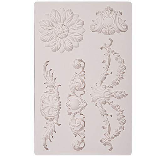 PROKITCHEN Vintage Scroll Silicone Fondant Cake Topper Mold Bakery, Vintage Art Craft Decorator Bakeware Idea DIY Birthday (Collection 3)