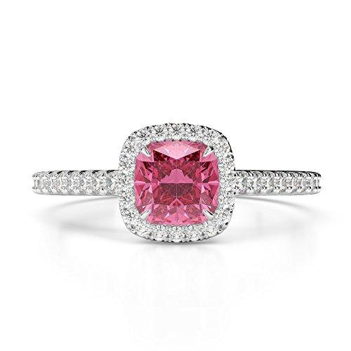 Or blanc 18carats 1CT G-H/VS Certifié Coussin Cut Tourmaline Rose et diamants Bague de fiançailles Agdr-1212