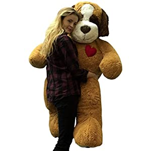 5 Foot Jumbo Stuffed Saint Bernard 60 Inch Soft Plush Dog, Heart on Chest to Express Love - 41ar9LvPnGL - 5 Foot Jumbo Stuffed Saint Bernard 60 Inch Soft Plush Dog, Heart on Chest to Express Love