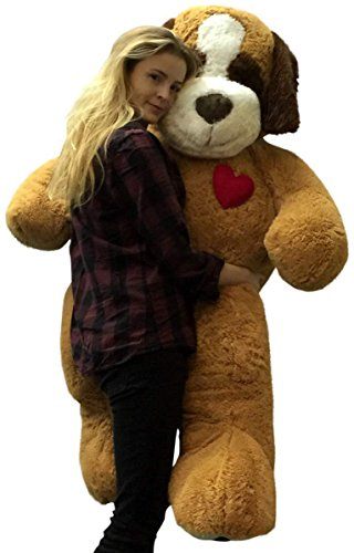 5 Foot Jumbo Stuffed Saint Bernard 60 Inch Soft Plush Dog  Heart On Chest To Express Love
