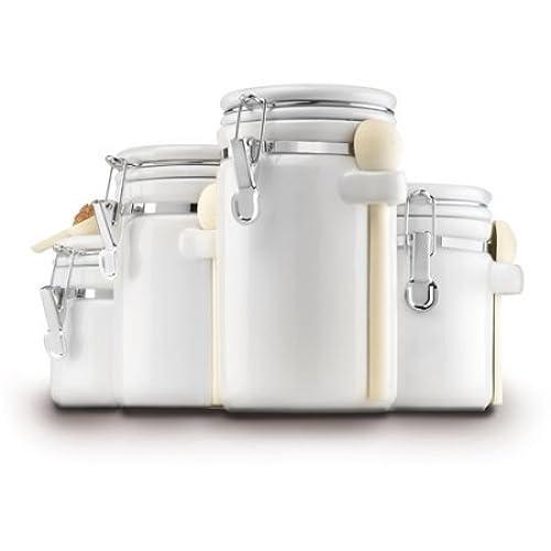4 Piece Ceramic Canister Set, White By Anchor Hocking , 03806COM, Made Of  Glass