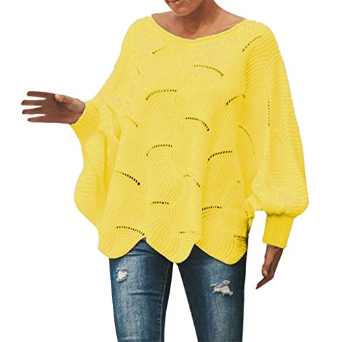 Cenglings Womens Sweater Casual Knitted Blouse Batwing Long Puff Sleeve Hollow Out Knit Pullover Ruffle Blouse Yellow ()