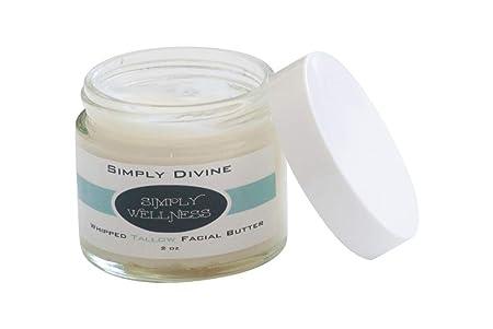 Simply DIVINE Whipped Tallow Facial Butter w CoQ10 2 OZ Organic No Chemicals – Anti Aging – Rejuvenating – w Frankincense, Myrrh, Geranium Essential Oils – Treats Eczema,Psoriasis,Fine Lines,Wrinkles